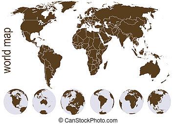 kule, brunatna ziemia, światowa mapa