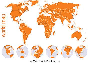kule, mapa, pomarańcza, świat, ziemia