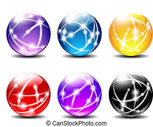 kule, sześć, ilustracja, piłki