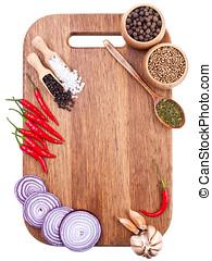 kulinarisch, hintergrund, mit, frische gemüse, auf, schneidebrett