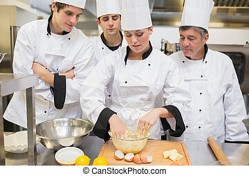 kulinarny, jak, studenci, zmieszać, ciasto, nauka