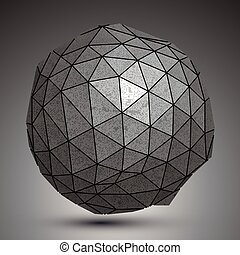 kulisty, abstrakcyjny, obiekt, metaliczny, wymiarowy, graysc, wykrzywiony