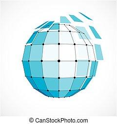 kulisty, błękitny, obiekt, kropkuje, stworzony, wireframe, kwestia, forma., poly, ścianka, squares., wektor, czarnoskóry, niski, związany, geometryczny, 3d, jabłko, perspektywa
