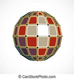 kulisty, obiekt, kropkuje, barwny, stworzony, wireframe, kwestia, forma., poly, ścianka, squares., wektor, czarnoskóry, niski, związany, geometryczny, 3d, jabłko, perspektywa