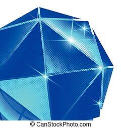 kulisty, z, błysk, zbzikowany, kula, obiekt, plastyk, wymiarowy, stworzony, tło, textured, triangles., zasłona
