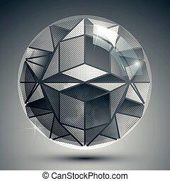 kulisty, zbzikowany, elements., kropkowany, stworzony, kula, obiekt, plastyk, nadzwyczajny, geometryczny, błyski