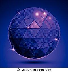 kulisty, zbzikowany, syntetyczny, kula, obiekt, plastyk, jasny, stworzony, textured, triangles., błyski
