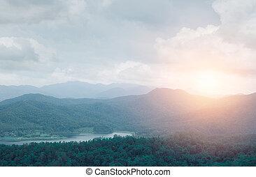 kulle, fjäll, beskaffenhet landskap, med, sunset.