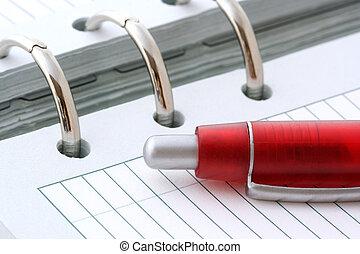 kulpenna, anteckningsbok, penna, röd