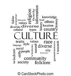 kultúra, szó, felhő, fogalom, alatt, fekete-fehér