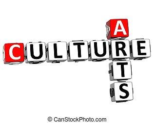 kultur, künste, 3d, kreuzworträtsel