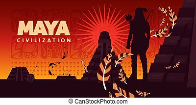 kultur, maya, vektor, horisontale, illustration