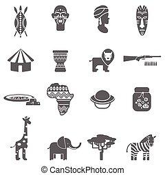 kultura, komplet, czarnoskóry, afrykanin, ikony