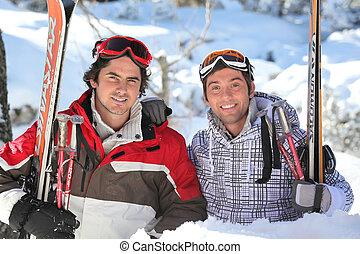 kumpel, an, fahren ski zuflucht