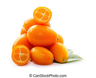 kumquat with leaf close up on white background