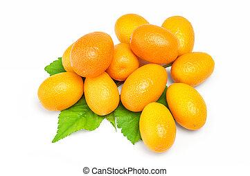 Kumquat with leaf on a white background