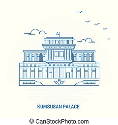 KUMSUSAN PALACE Blue Landmark. Creative background and...