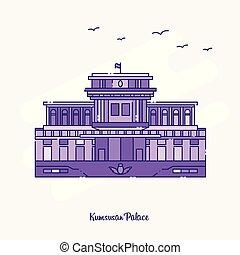KUMSUSAN PALACE Landmark Purple Dotted Line skyline vector...