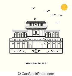 KUMSUSAN PALACE Monument. World Travel Natural illustration...