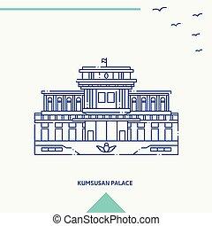 KUMSUSAN PALACE skyline vector illustration