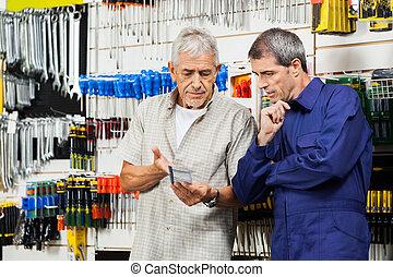 kund, över, säljare, diskutera, verktyg, packat