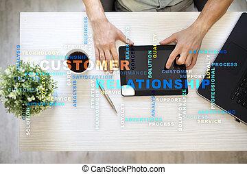 kund, administration, förhållande, screen., virtuell, begrepp, ord, cloud.