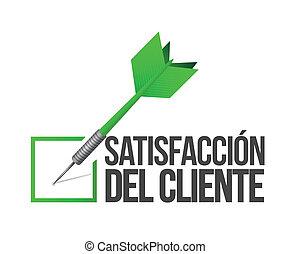 kund, bra, måltavla, service, begrepp, spansk