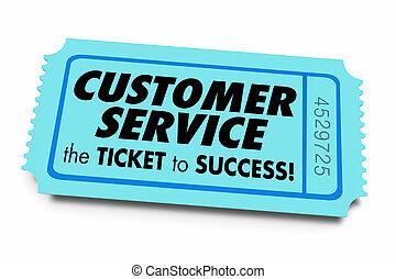 kund, god service, framgång, stöd, illustrationaffär, biljett, 3