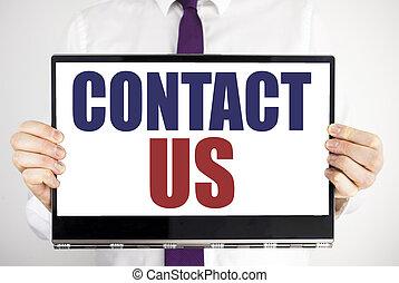 kund, hålla, begrepp, computer., affär, ord, laptop, kompress, fingrar, suddig, bakgrund., skriftligt, kontakta, holdingen, us., entreprenör skriva, stöd, man