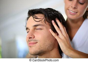 kund, hår, massera, frisör