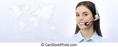 kund, hörlurar med mikrofon, begrepp, service, karta, oss, kontakta, bakgrund, kvinna, operatör, värld, le