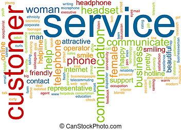 kund, ord, service, moln