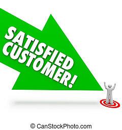 kund, pekande, tillfreds, tillfredsställelse, klient, pil, lycklig