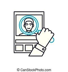 kund, skissera, illustration, underteckna, symbol, analys, slag, vektor, tunn, icon., fodra, concept., linjär
