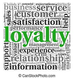 kund, vit, begrepp, lojalitet