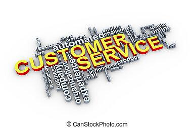 Kunde,  3D, Wort,  service, Etikette