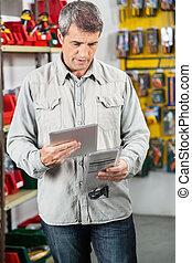 kunde, analysieren, produkt, durch, digital tablette