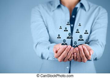 kunde, ansatter, begreb, eller, omsorg
