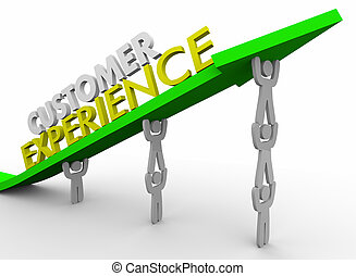 kunde, erfahrung, mannschaft, heben, pfeil, 3d, abbildung