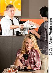 kunde, expresso, weibliche , trinken, café, glücklich