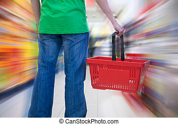 kunde, in, supermarkt