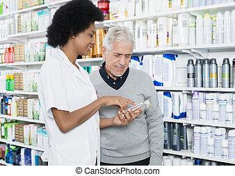 kunde, informationen, produkt, apotheker, ausstellung