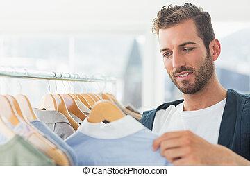 Kunde, Kleidung,  r, Mann, hübsch