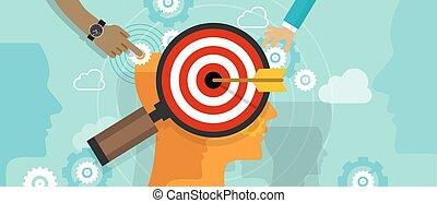 kunde, kopf, begriff, ziel- marketing, verstand, strategie, markt, schach, menschliche , position, verbraucher, positionierung
