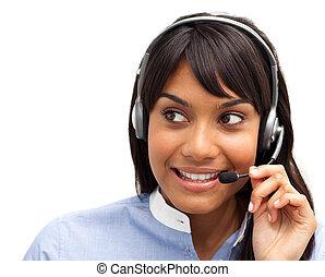 kunde, kopfhörer, service, edv, vertreter, ethnisch, gebrauchend, attraktive