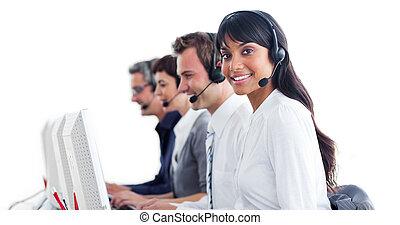 kunde, kopfhörer, vertreter, service, international