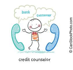 kunde, kredit, telefon, tales, counselor, bank