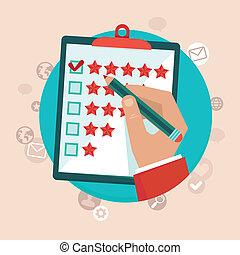 kunde, lejlighed, firmanavnet, begreb, feedback, vektor