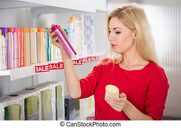 Kunde, lesende, kosmetisch, Flasche, Etikett