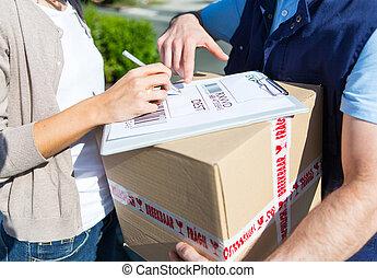 kunde, merkzettel, unterzeichnung, auslieferung, details